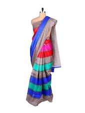 Multicolored Horizontal Striped Jute Silk Saree - By