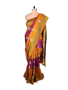Multicolored Horizontal Striped Polyester Cotton Saree - Fabdeal