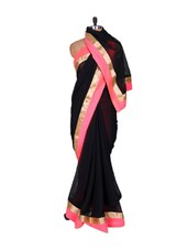 Black And Pink Georgette Saree - Fabdeal