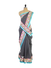 Stunning Grey Super Net Saree With Eye-catching Border  And Matching Blouse Piece - Pothys