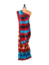 Horizontally Striped Colourful Saree - Saraswati