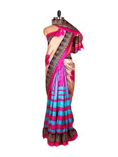 Vibrant Cream And Pink Floral Print Saree - Saraswati