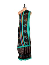 Brown Chevron Print Saree With Floral Border - Saraswati