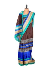 Refreshing Blue Printed Saree - Saraswati