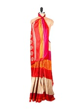 Pale Beige And Red Traditional Printed Saree - Saraswati