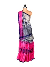 Bright Pink And Blue Printed Saree - Saraswati
