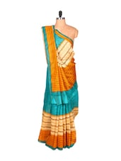 Yellow And Blue Printed Saree - Saraswati
