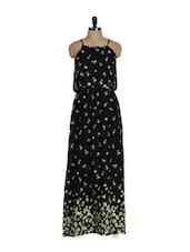 Floral Black Maxi Dress - Purys