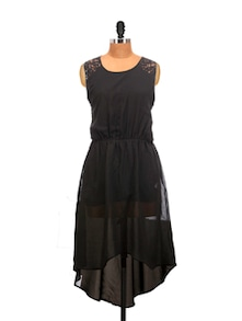 Black Asymmetrical Cut Dress - La Zoire