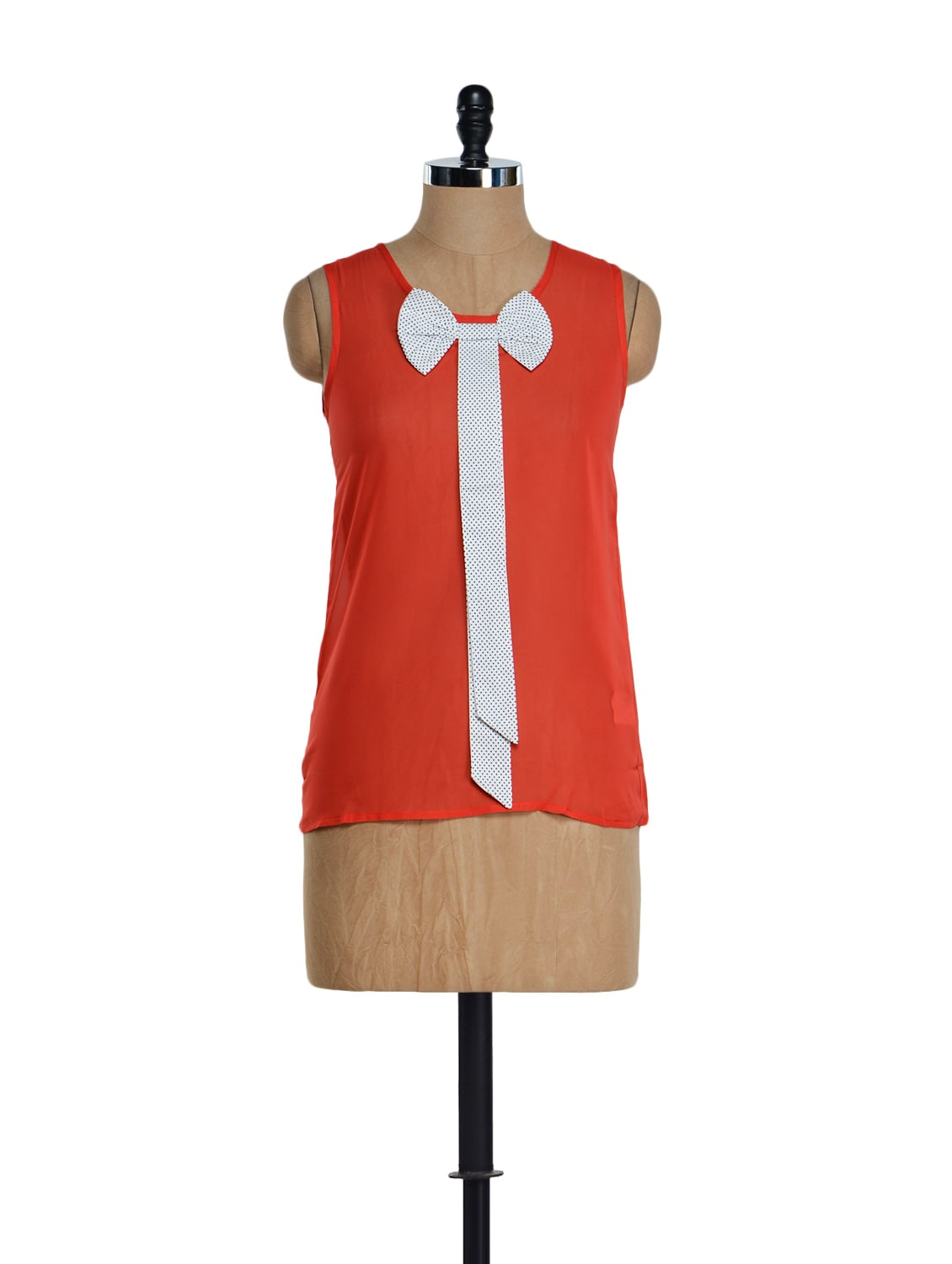 Sleeveless Red Bow Top - Golden Couture