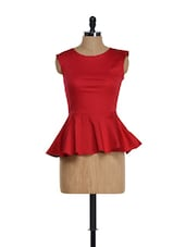 Red Peplum Top - Golden Couture