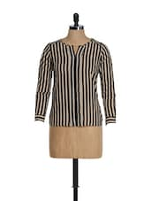 Beige And Black Striped Top - Golden Couture