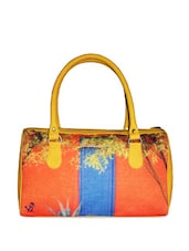 Stylish Tan Tote Bag With Floral And Door Prints - Jajv