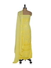 Breathtaking Yellow Embroidered Dress Material With Lace Trimmings - Olive Studio
