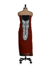 Unstitched Red Kurta With A White And Green Placket And A Chiffon Dupatta - Home Of Impression
