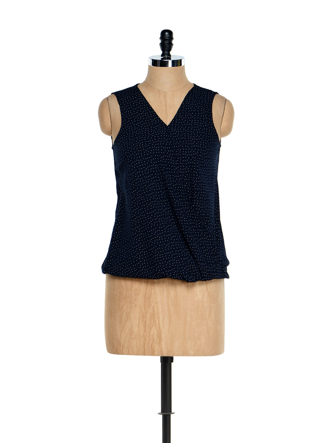 Navy Blue Polka Dotted Gathered Top - Besiva