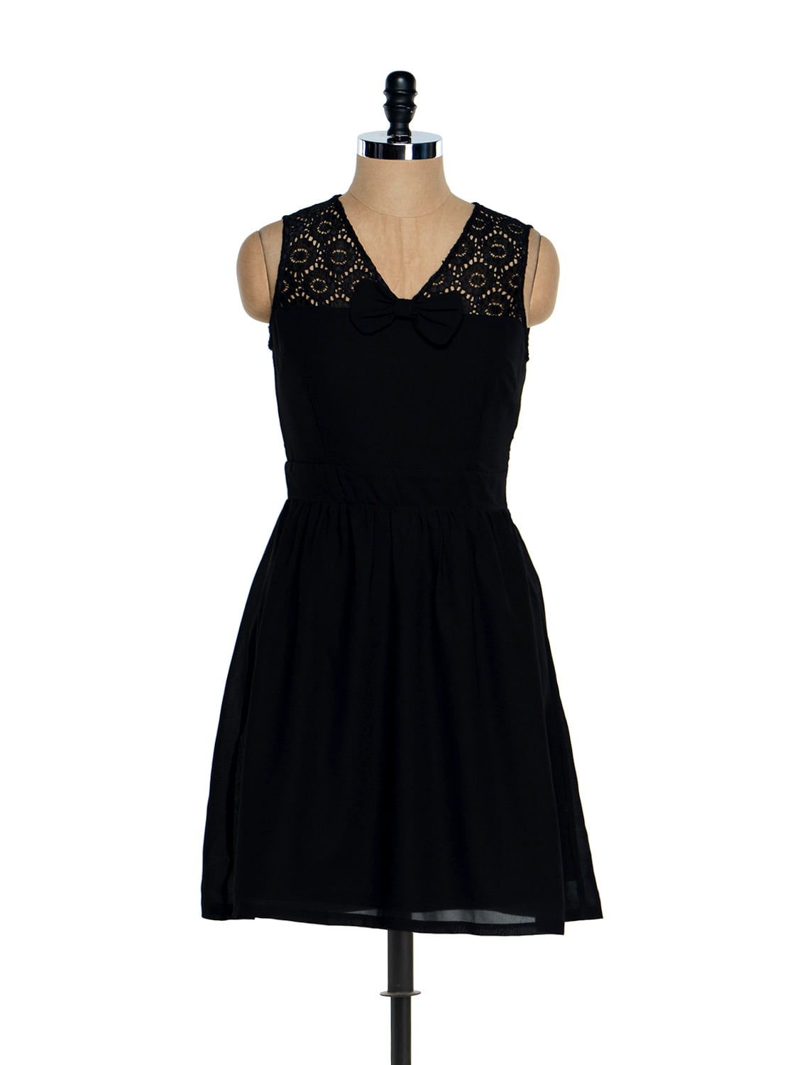 Black Lace Bow Dress - Besiva
