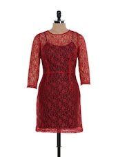 Maroon Sheer Lace Dress - Besiva