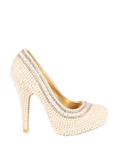 Bejeweled With Pearls High Heels Pumps - Reyna