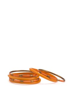 Orange and Gold Bangles (Set of 6) - Toniq