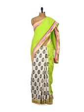 Light Green Bhagalpuri Silk Saree - Purple Oyster