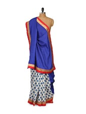 Deep Blue Bhagalpuri Silk Saree - Purple Oyster