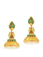 Traditional Jhumkis With Green Stones - Alankruthi