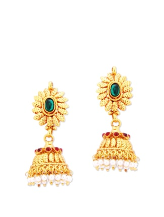 Traditional Jhumkas with Stones and Faux Pearls