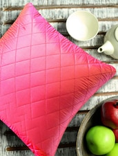 Dark Pink Quilted Cushion Cover (Set Of 2) - Aapno Rajasthan