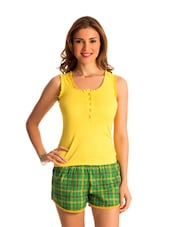 Set Of Green Check Shorts & Yellow Top - PrettySecrets