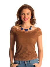 Chocolate Brown Lace Body-Con Top - PrettySecrets