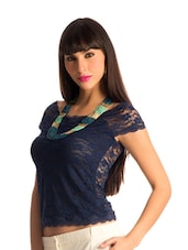 Navy Lace Body-Con Top - PrettySecrets