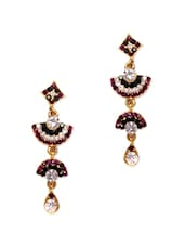 Colourful Crystal Studded Long Earrings - Subh
