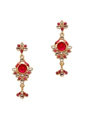Pink And White Crystal Long Earrings - Subh