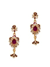 Pink And White Crystal Studded Earrings - Subh
