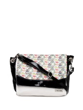 Trendy Black And White Cross Body Bag With Quirky Prints On The Flap - 3 MAD CHICKS