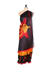 Black And Orange Floral Saree - Fabdeal