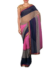 Pink Geometric Printed Georgette Saree - By
