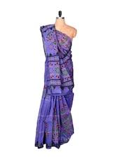 Floral Print Blue Cotton Saree - Fabdeal
