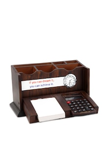 Brown Wooden Quote Pen Stand With A Calculator - Cosmos Galaxy