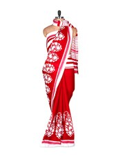 Red And White Saree With Blouse Piece - PetraFab