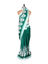 Green And White Saree With Blouse Piece - PetraFab