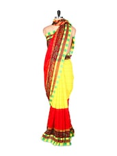 Red And Yellow Saree With Blouse Piece - PetraFab
