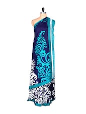 Blue Printed Saree With Blouse Piece - PetraFab