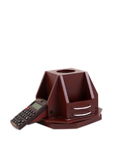 Brown Wooden Revolving Pen Stand With Calculator - Cosmos Galaxy