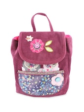Charming Owl City Appliqué Work Purple Corduroy Back Pack - Ivory Tag