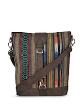 Stunning Brown Sling Bag With Aztec Print - YELLOE