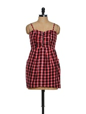 Red Check Dress With Pockets - Magnetic Designs