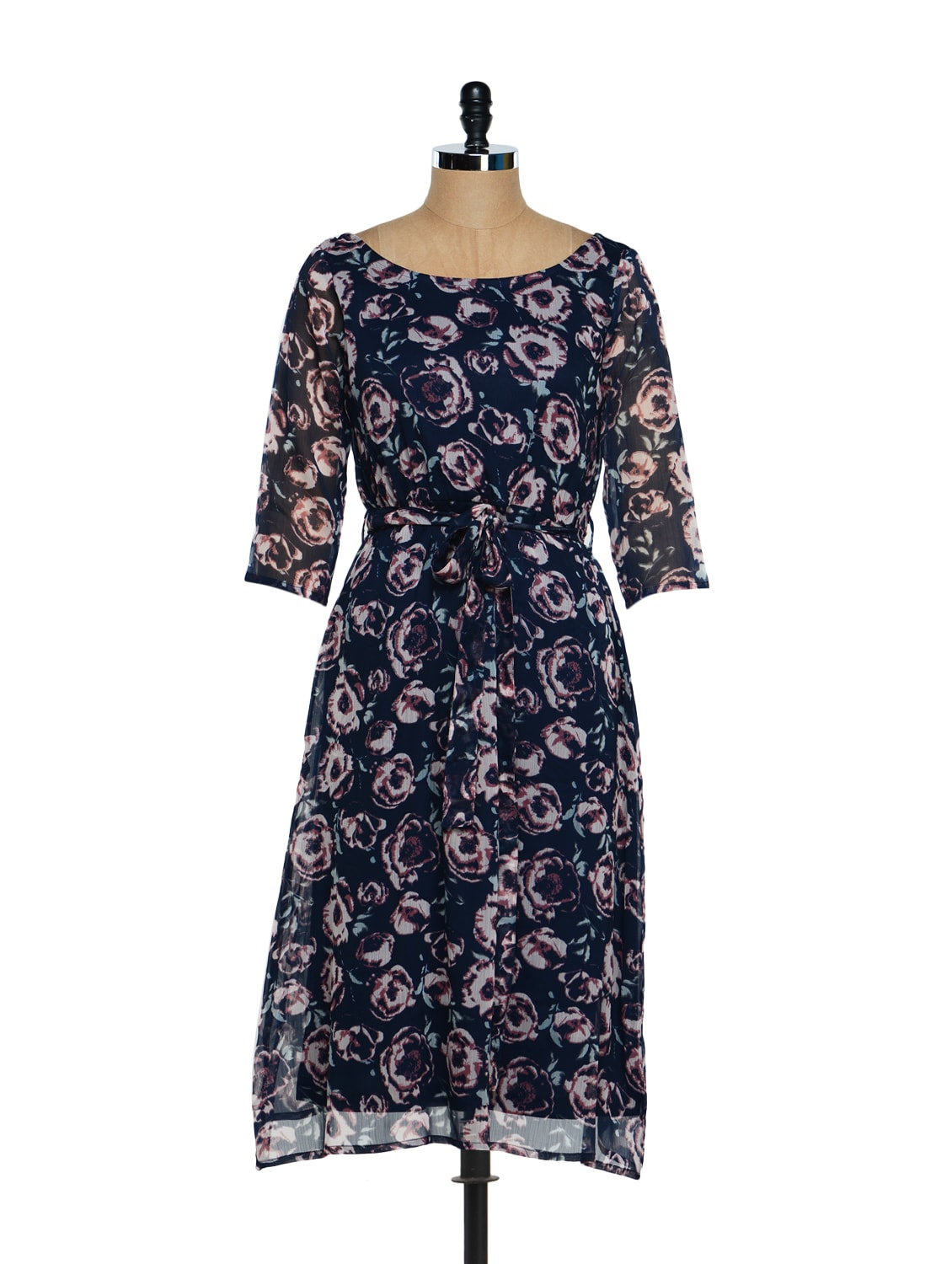 Navy Floral Midi Dress - Magnetic Designs
