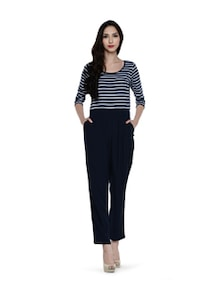 Blue Striped Full-length Jumpsuit - Magnetic Designs